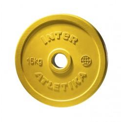 Диск обрезиненный цветной InterAtletika LСA033 15 кг