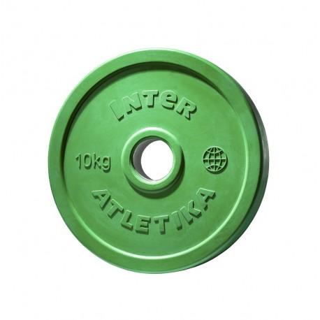 Диск обрезиненный цветной InterAtletika LСA032 10 кг